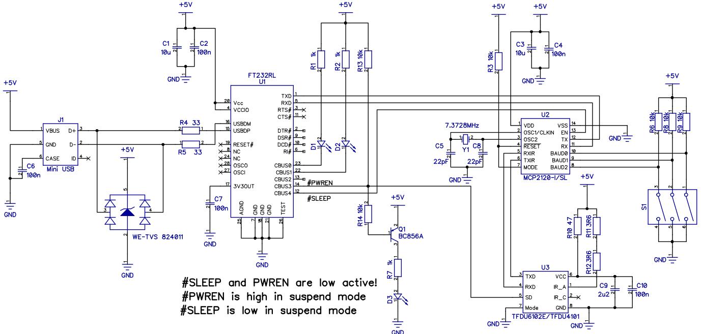 IrDA USB Usb To Serial Schematic on usb switch schematic, usb port schematic, speakers schematic, wireless schematic, usb circuit schematic, usb hub schematic, usb controller schematic, usb memory schematic, usb cable schematic, gps schematic, converter schematic, usb to ttl converter circuit,